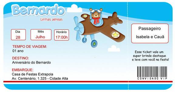 Convite Urso Aviador No Elo7