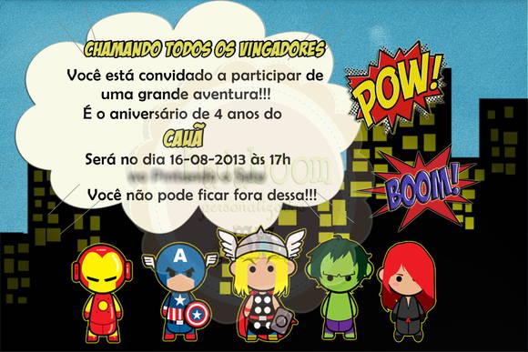 Convite Vingadores (arte) No Elo7