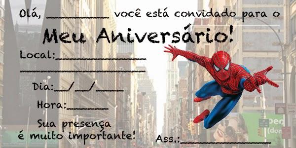 Convites Do Homem Aranha Para Imprimir