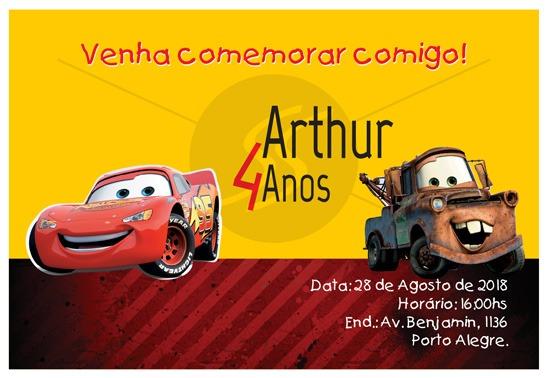 Convites Infantis Para Carros M3570