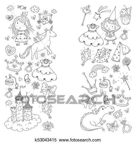 Cute, Princesa, ícones, Jogo, Com, Unicórnio, Dragão, Menina