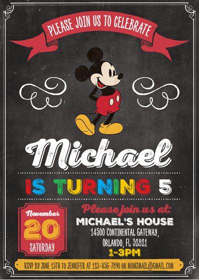 Disney Vintage Chalkboard Style Mickey Mouse 5x7 In  Birthday