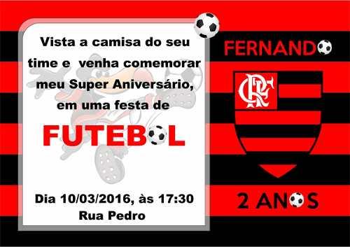 50 Convites Infantil Flamengo Envelope Personalizado