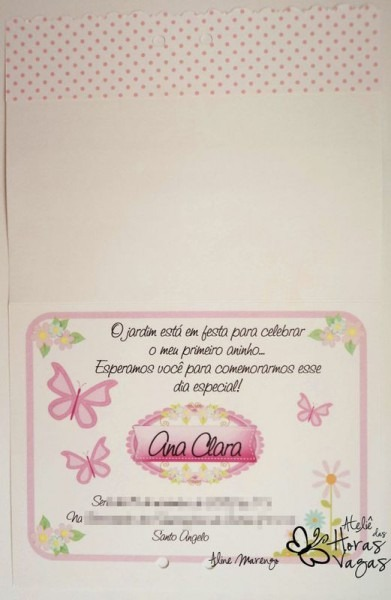 Convite Artesanal Floral Jardim Encantado Borboletas 12x15cm