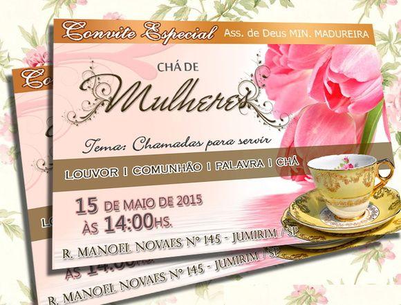 Convite Chá De Mulheres Dourado Tamanho 10x15 Quantidade Mínima