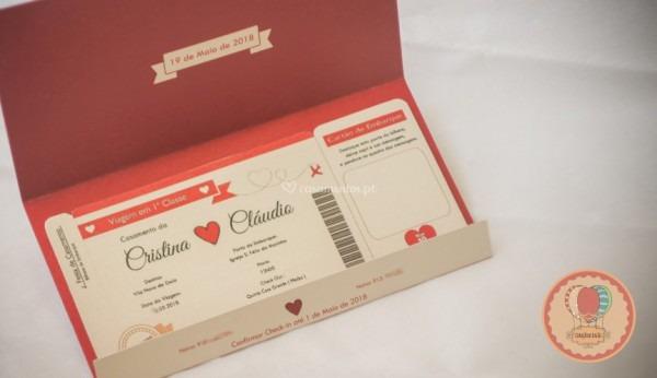 Convite Bilhete De Avião De Coração De Balão