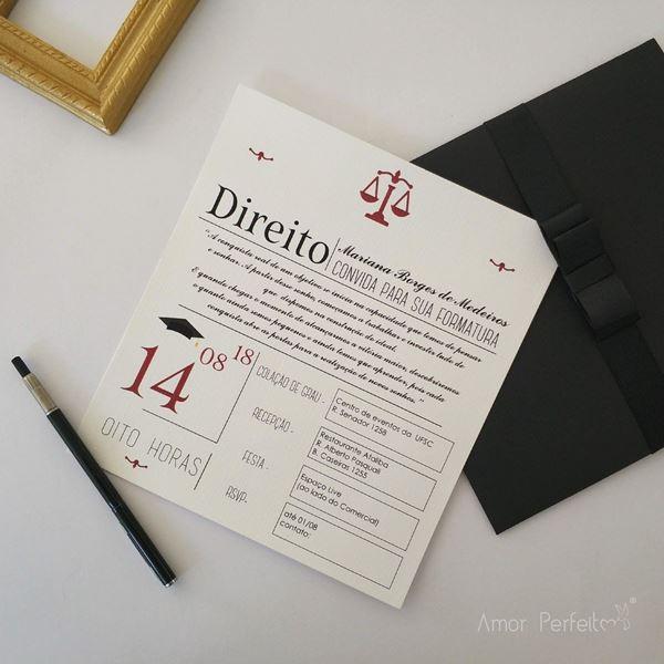 Convite De Formatura De Direito  30 Modelos Modernos E Clássicos