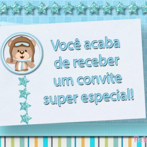 Convite Animado Ursinho Aviador Azul Na Rededots Com Br