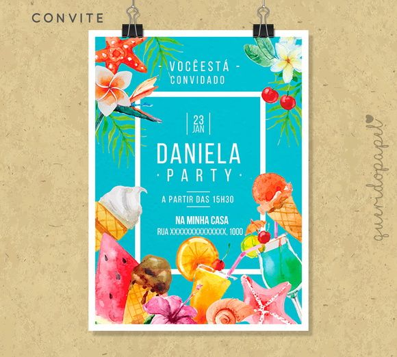 Sorvete, Convite Sorvete, Festa Sorvete, Convite Pool Party