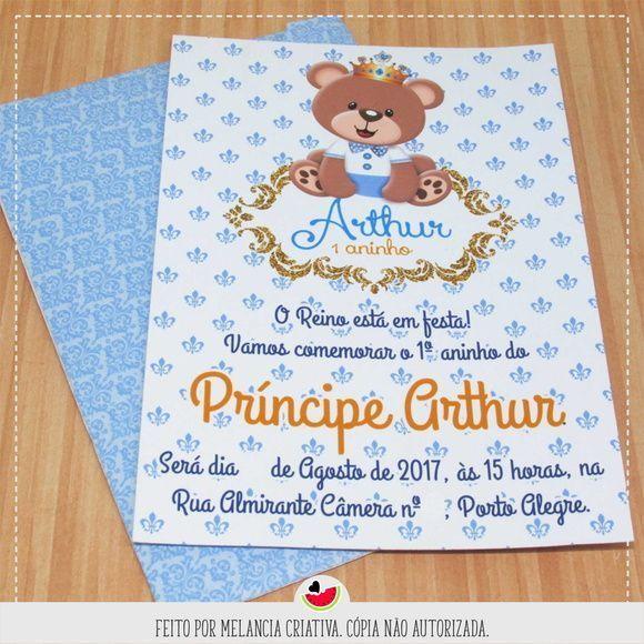 Convite Ursinho Príncipe R$ 3,00 (preço Unitário)