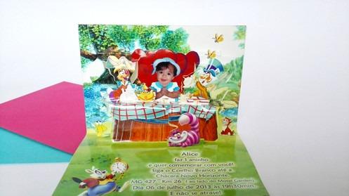 Convite Alice No Pais Das Maravilhas Pop Up