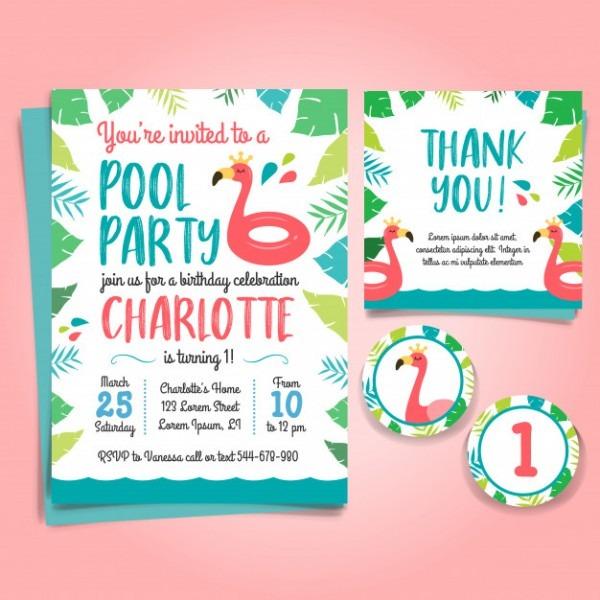 Flamingo Birthday Invitation, Pool Party Vector