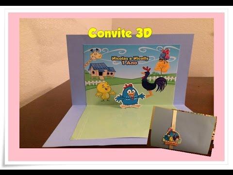 Como Fazer Convite 3d Galinha Pintadinha