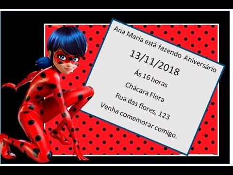 Como Fazer Convite De AniversÁrio Da Ladybug No Word