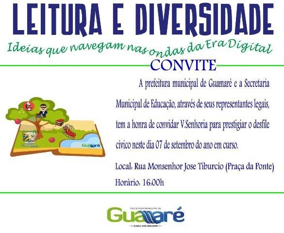 Convite  Desfile Cívico Alusivo Ao Dia 7 De Setembro Em Guamaré