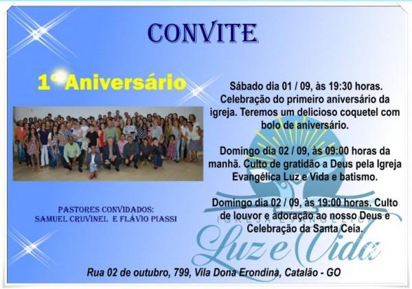Convite De Aniversário Igreja Luz E Vida