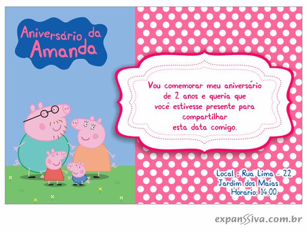 Convites Infantis Para Peppa Pig M6815
