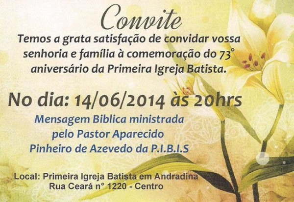 Primeira Igreja Batista Celebra 73 Anos No Próximo Sábado
