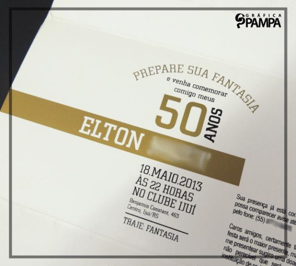 "Convite Aniversário ""em"" 50 Anos – Gráfica Pampa"