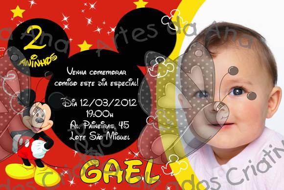 Mickey Convite Com Foto No Elo7