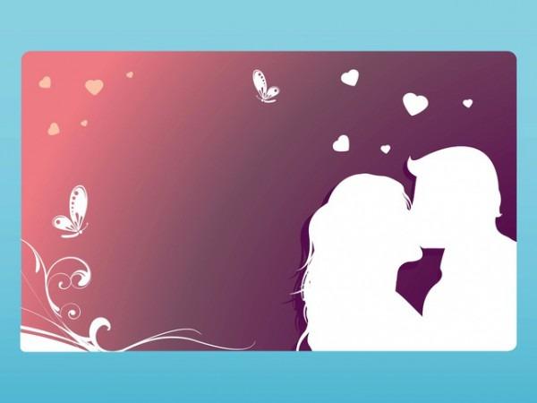 Modelo De Cartão Com Um Casal Se Beijando