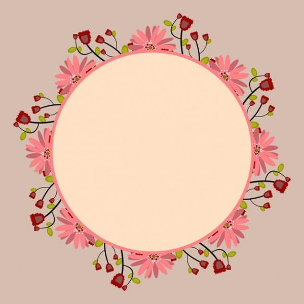 Moldura Redonda Com Bouquet Floral Rosa E Vermelho, Modelo Para