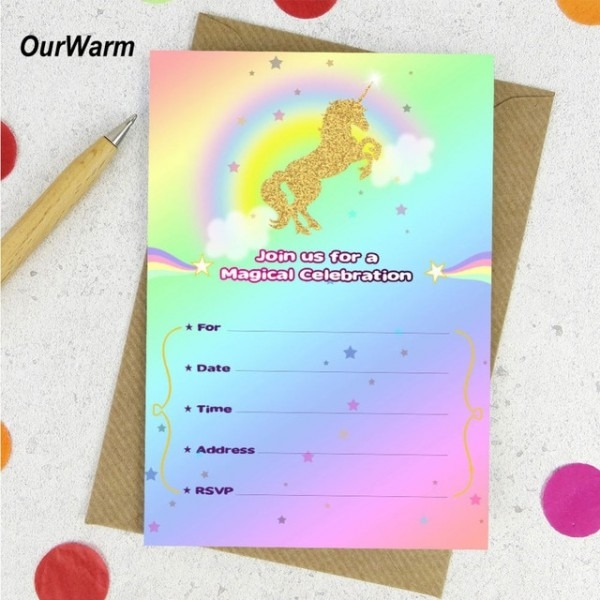 Ourwarm 10 Pcs Unicórnio Unicórnio Cartão Convites Da Festa De