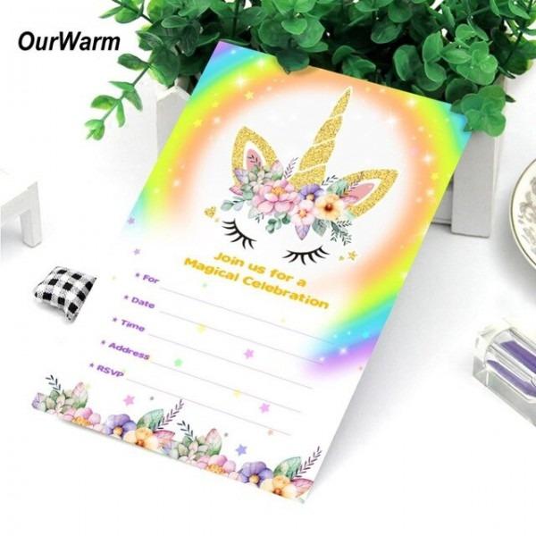Ourwarm 50 Pcs Unicórnio Unicórnio Cartão Com Envelopes Do Convite