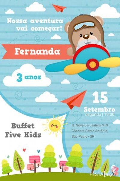 Convite Urso Aviador