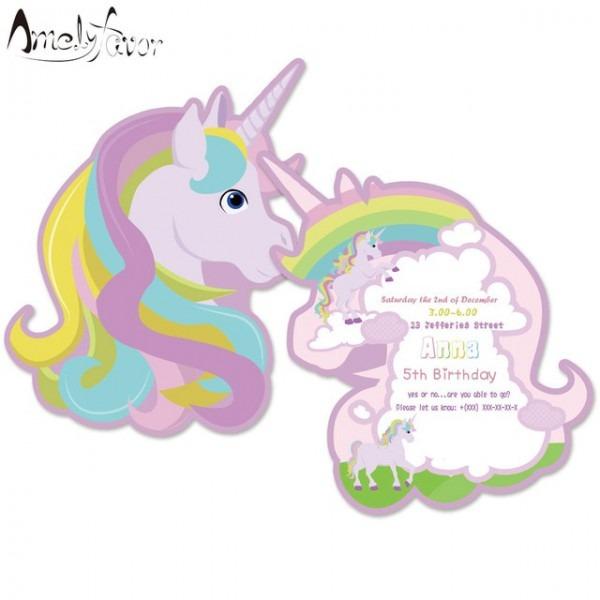 Rainbow Unicorn Unicórnio Cartão Convites Tema Fontes Do Partido
