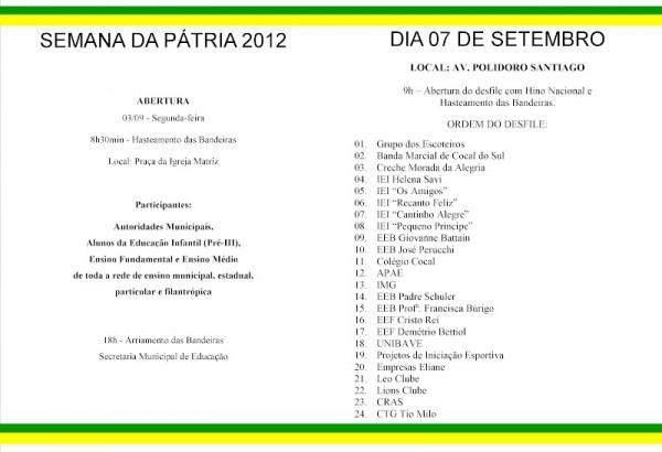 Secretaria De EducaÇÃo De Cocal Do Sul  Convite Para O Desfile