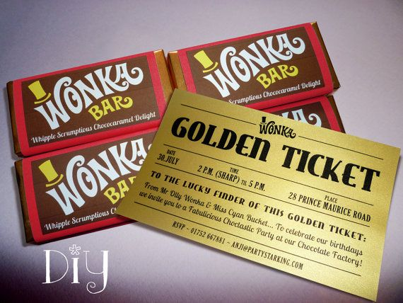 Willy Wonka Invitations Wonka Bar & Golden Ticket Invitations
