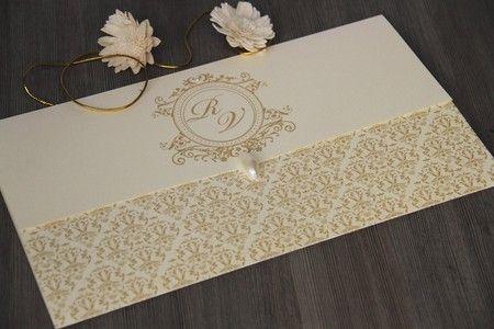 Convite De Casamento Clássico, Dourado Com Arabesco E Pedras