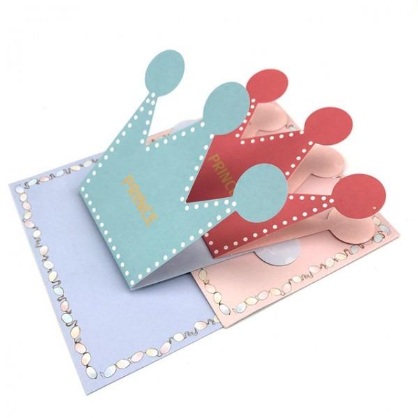 20 Pcs Rosa Azul Príncipe Princesa Coroa Cartão De Convite Da