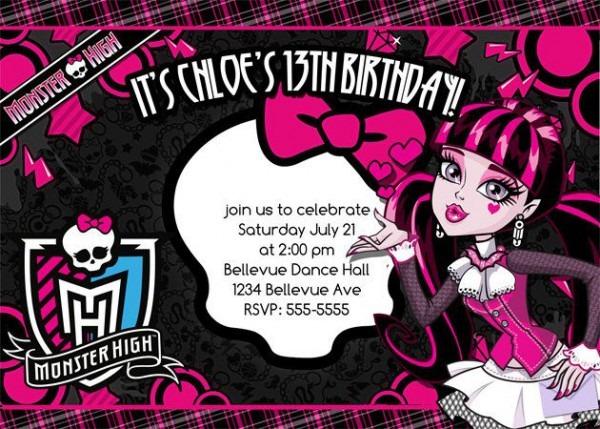Monster High Birthday Invitations   Draculaura Birthday Party Card