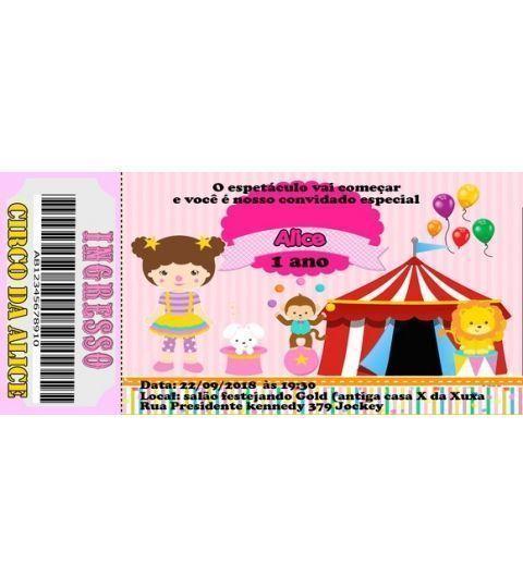 30 Convite Circo Rosa Frete Grátis