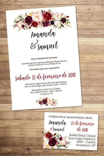 Convite Marsala Floral Editável Word