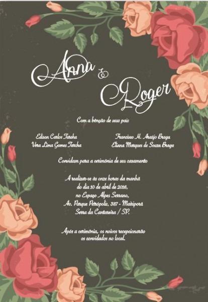 Convite De Casamento Floral, Arte Para Editar, Baixe No Site Sua