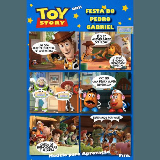 Festa Toy Story Convite Gibi Com Fundo Azul