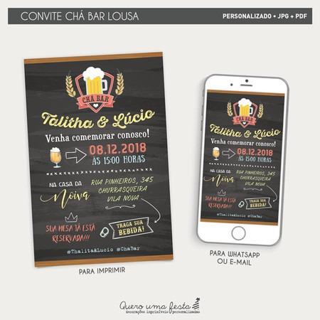 Convite Chá Bar Boteco Lousa