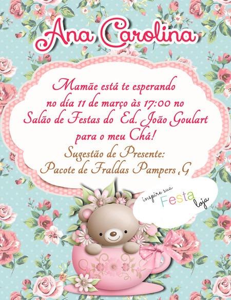 Convite Slim 10x13 Cm Chá De Bebê