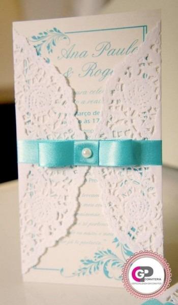 Convites Para Casamento Com Envelope Rendado