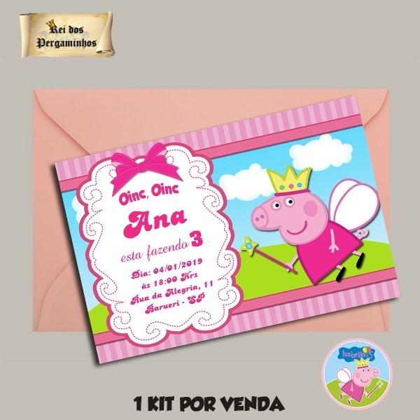 45 Convite Peppa Pig 10x7 Cm+ Envelope + Adesivo Fecho