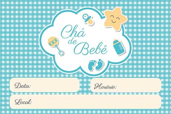 Convite Chá Bebê Menino Menina