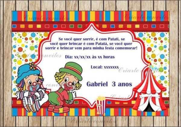 Convite Aniversário Infantil Patati Patatá   Por Criarte Convites