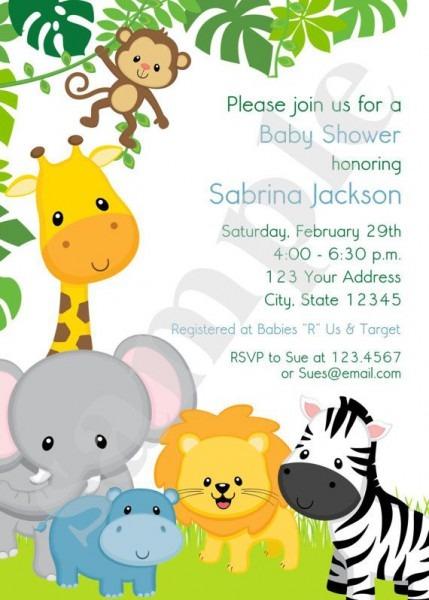 Boy Or Girl, Wild Animals, Jungle, Safari Baby Shower Invitations