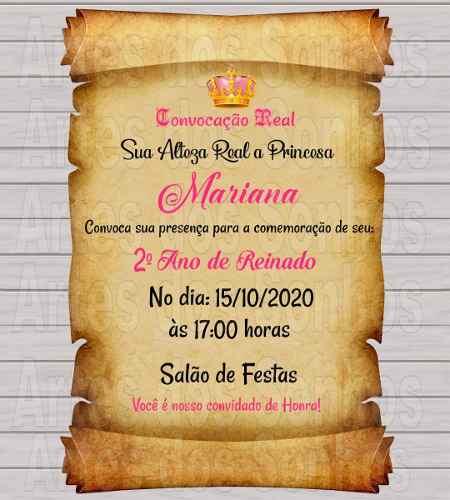 Convite Pergaminho Realeza + Tags