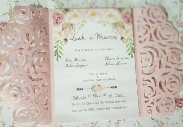 Envelopes Rendados Rosas Floral Convite 15x21  20uni+brinde