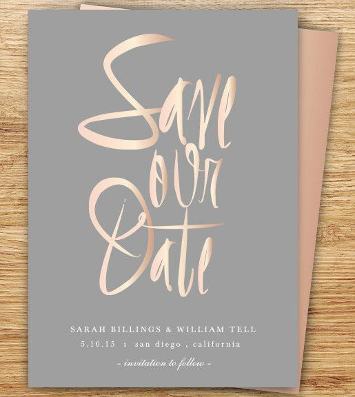 Save The Date, Rose Gold Save The Date, Wedding Save The Date