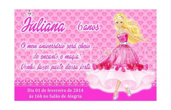 Convite Aniversario Barbie Arte Digital